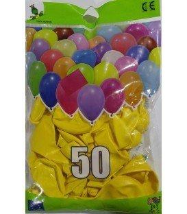 GLOBOS DE COLOR AMARILLO BOLSON 50 UDS