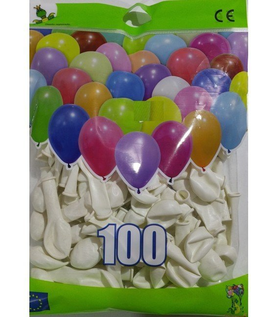 GLOBOS DE COLOR BLANCO BOLSON 100 UDS