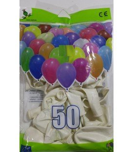 GLOBOS DE COLOR BLANCO BOLSON 50 UDS