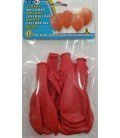 GLOBOS DE COLOR ROJO 12 UDS