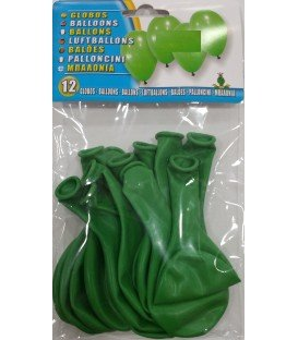 GLOBOS DE COLOR VERDE 12 UDS