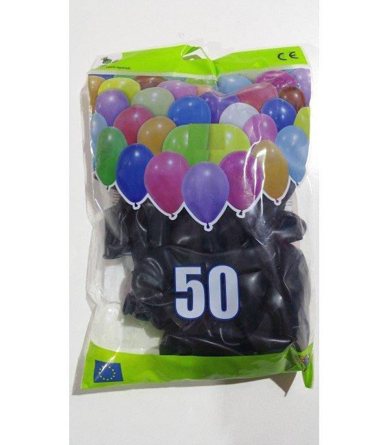 GLOBOS DE COLOR NEGRO BOLSON 50 UDS