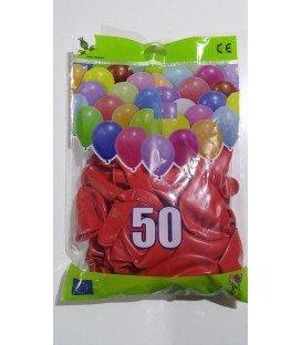 GLOBOS DE COLOR ROJO BOLSON 50 UDS