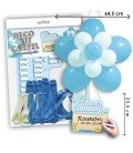 KIT GLOBO FLOR EDITABLE COMUNION AZUL