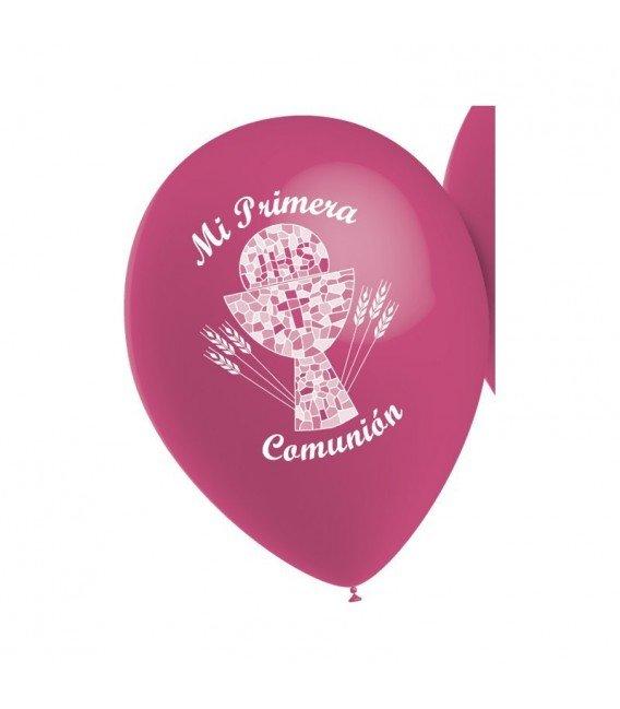 GLOBOS PRIMERA COMUNION ROSA 10 UNIDADES