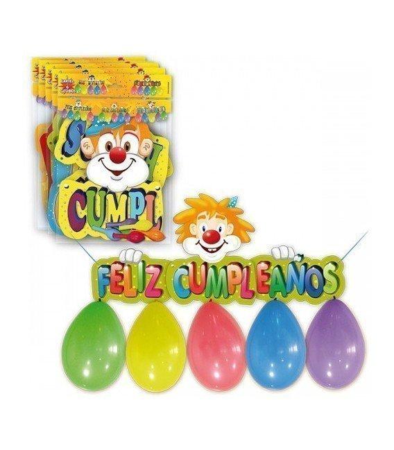 CARTEL FELIZ CUMPLEAÑOS INFANTIL + 6 GLOBOS