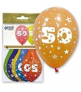 GLOBOS DE LATEX GOLD NUMERO 50 6UDS
