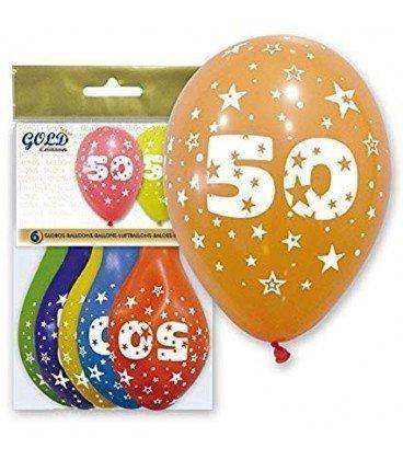 GLOBOS DE LATEX GOLD NUMERO 50 6UDS