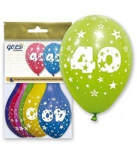 GLOBOS DE LATEX GOLD NUMERO 40 6UDS